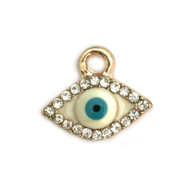Bedel evil eye verguld kristal turkoois