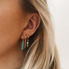 Earparty oorring howlite turkoois verguld