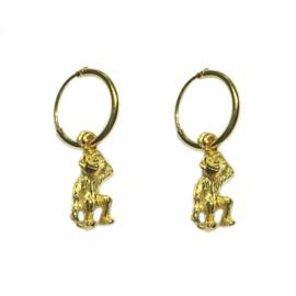 Oorbellen aapje goud