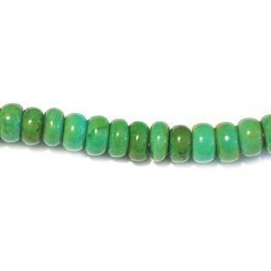 Magnesite turquoise groen kraal schijfje Half Edelsteen