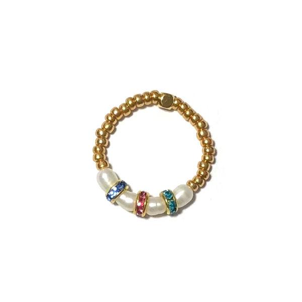 Ring Parels kralen goud kristal