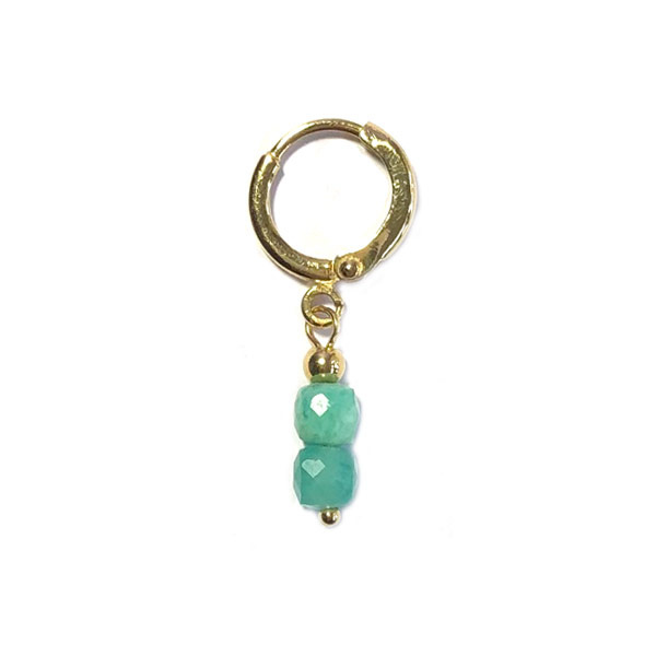 Single Oorbel Hot Aqua jade verguld