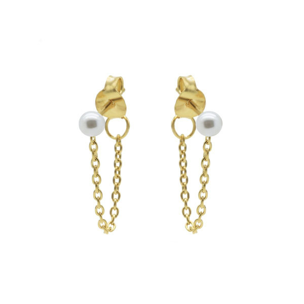 Oorbellen chain Parel wit goud
