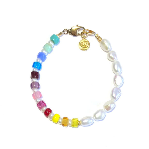 Regenboog armband zoetwaterparel