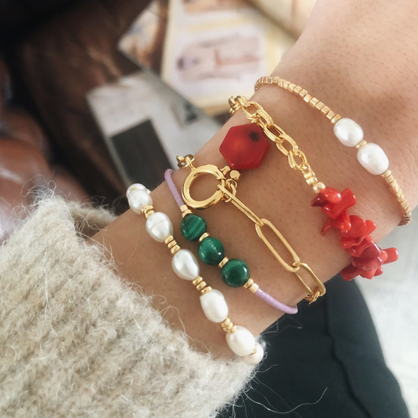Armband Miyuki Lila Malachiet