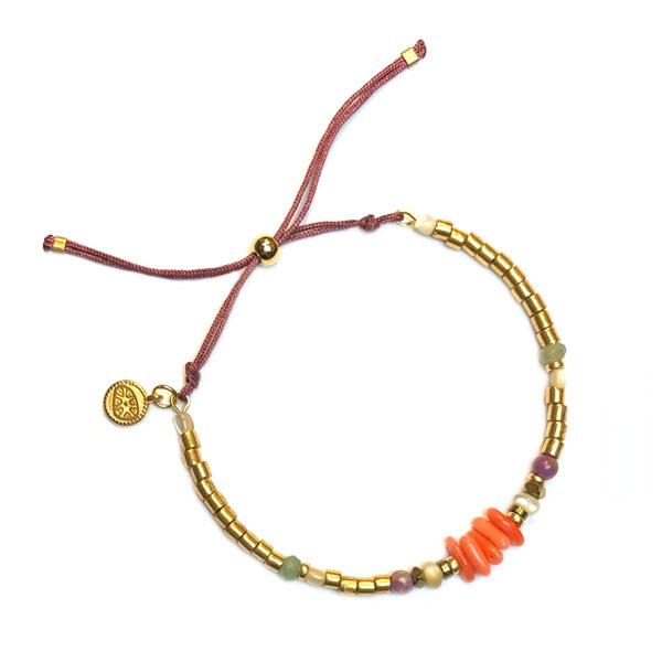 Armband Goud miyuki koraal oranje