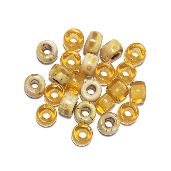 Glaskraal groot gat Geel beige