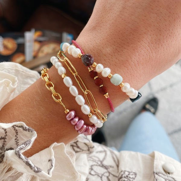Witte Parel armband elastiek