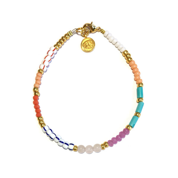 Armband multicolor goud rocailles