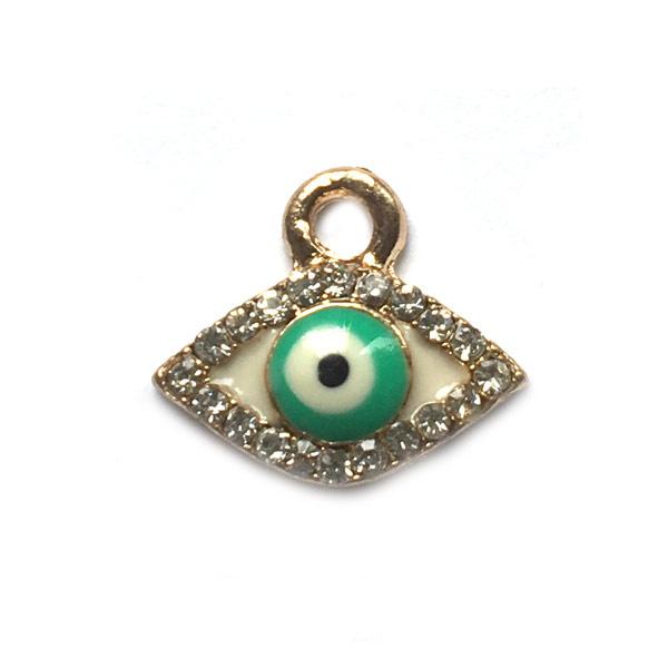 Bedel evil eye verguld kristal zeegroen