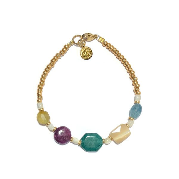 Armband Edelsteen Paars groen blauw goud