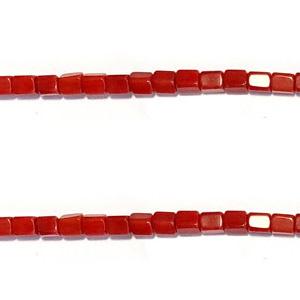 Kraal vierkant bamboe koraal rood