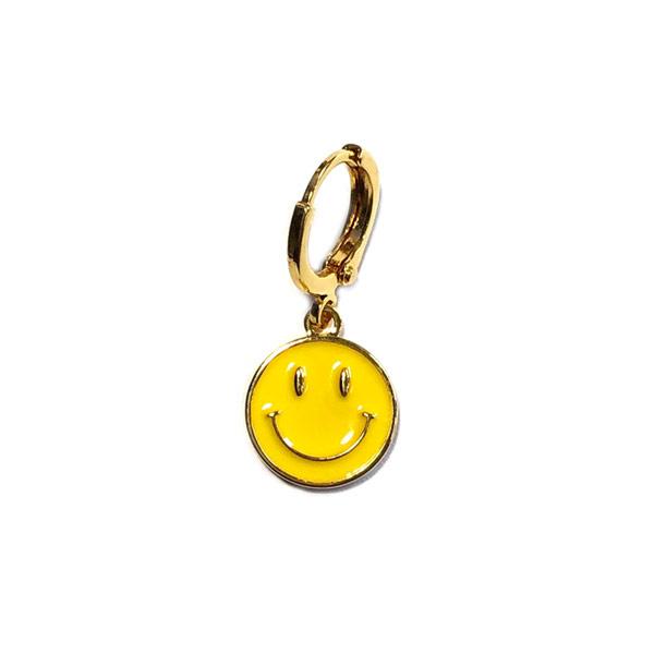 Single Oorbel Smiley Geel goud