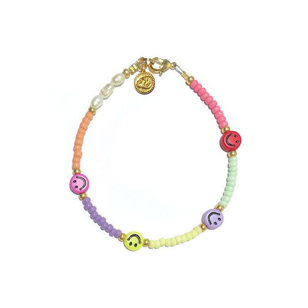 Armband Zoetwaterparel Rocailles Smiley