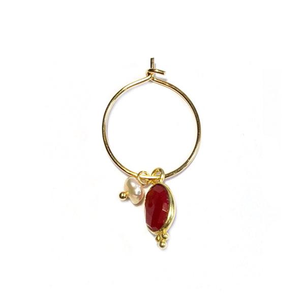 Oorbel steen rood parel