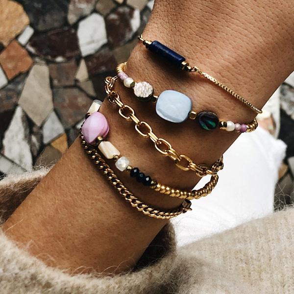 Armband Blauw schelp goud