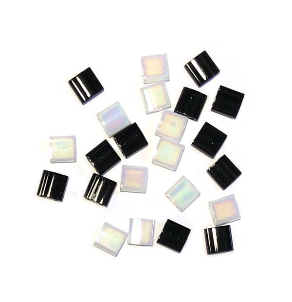 Miyuki Tila 5 x 5mm White pearl AB zwart
