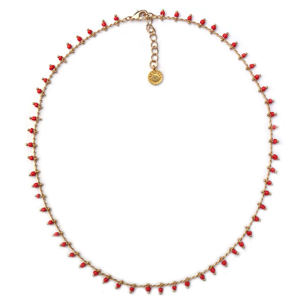 Necklace Red Beads Vintage Look