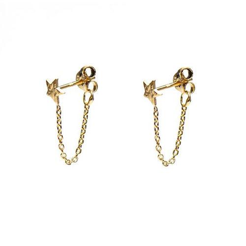 Oorbellen chain ster goud