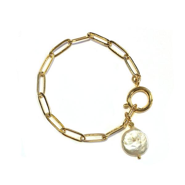 Armband schakel goud Zoetwaterparel