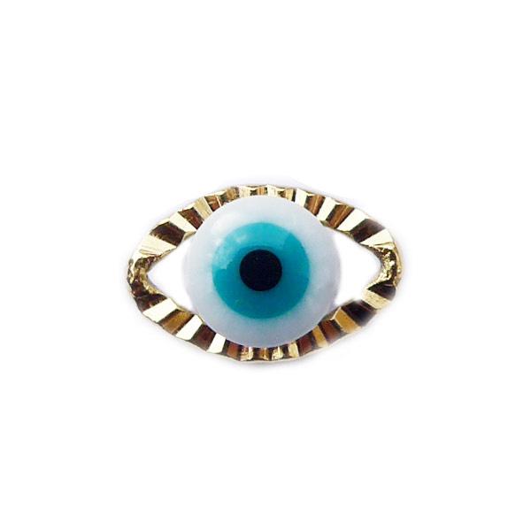 Bedeltje Evil eye blauw goud