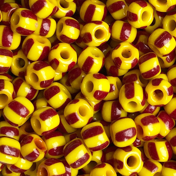 Rocailles Geel roodbruin gestreept 5mm