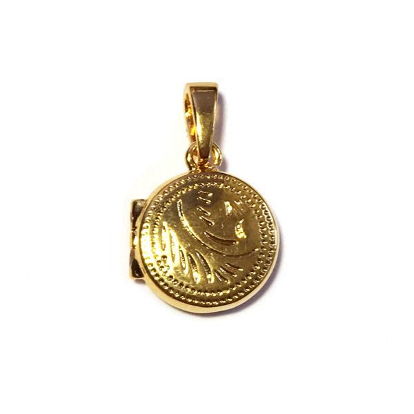 Medaillon rond 12mm verguld goud
