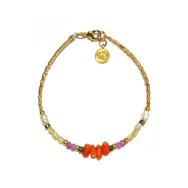 Armband Halfedelsteen Oranje lila goud Miyuki Delica