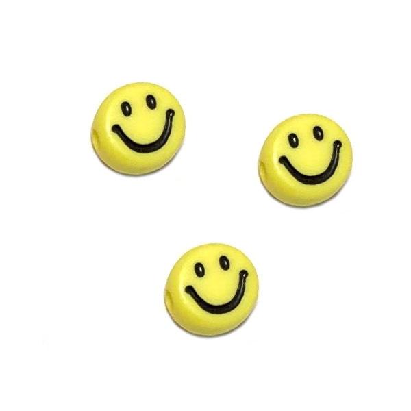 Smiley kralen Geel klein