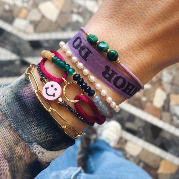 Lucky bracelet Smiley Roze