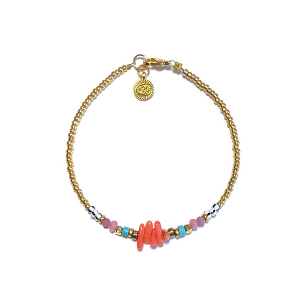 Armband Bamboe koraal turkoois goud Miyuki Delica