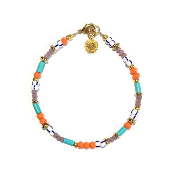 Armband Turkoois Oranje rocailles