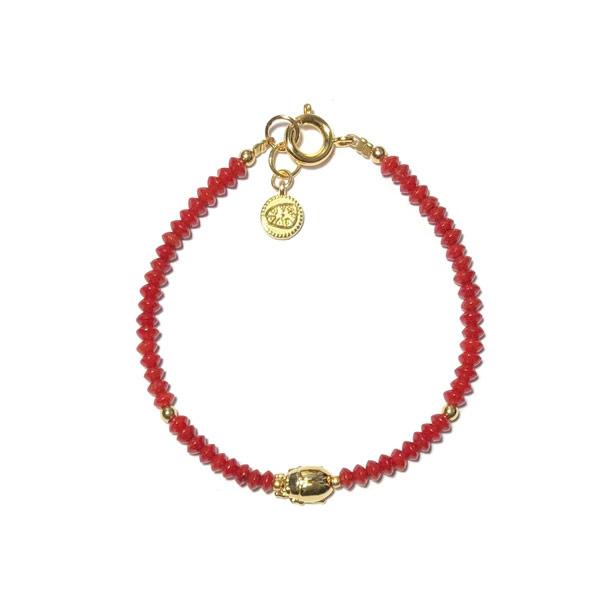 Armband Bamboe koraal Scarabee goud