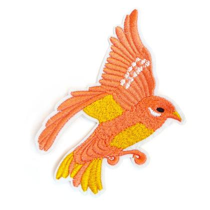 Patch - Strijkplaatje Vogel Roze Oker