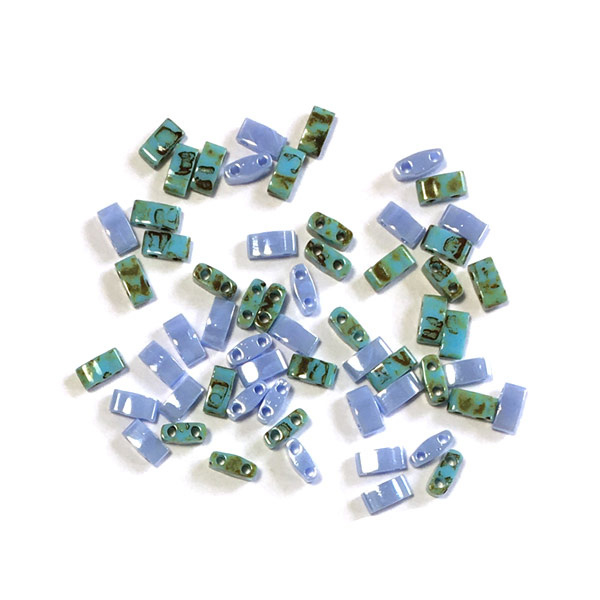 Miyuki half Tila 5 x 2.3mm Turkoois en blauw