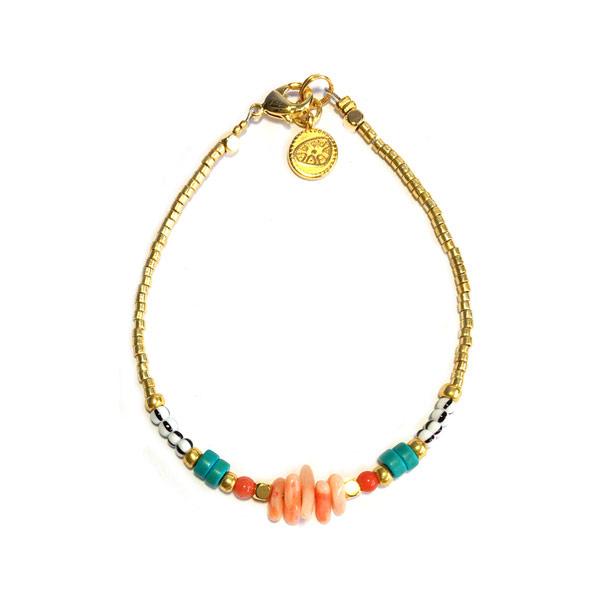 Armband Bamboe koraal roze turkoois goud Miyuki Delica