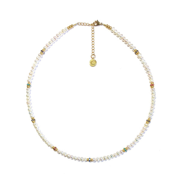 Ketting Zoetwaterparel  kristal strass