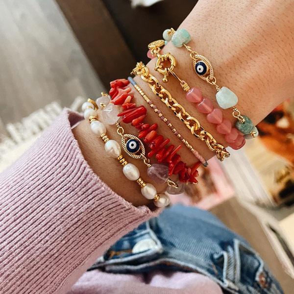 Armband Amazoniet Evil eye goud