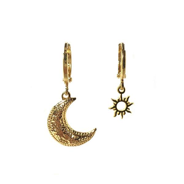 Oorbellen setje Maan & Zon goud