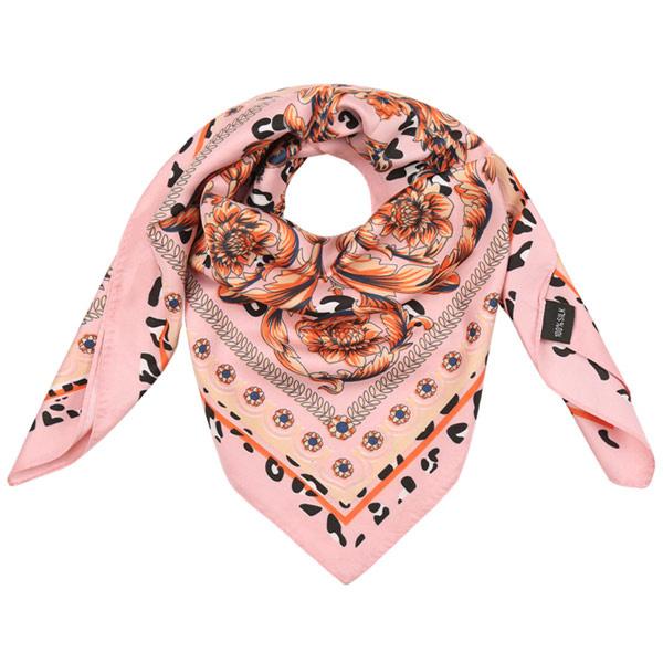 Sjaal licht roze panter bloemen