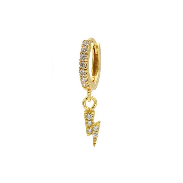 Single oorring Bliksem goud zirconia