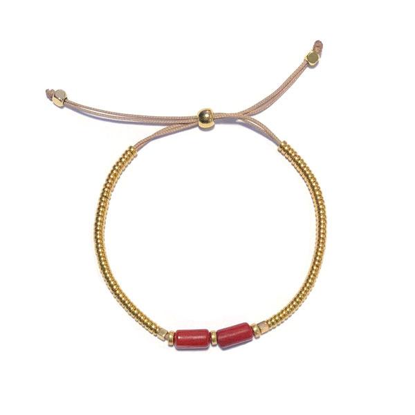 Armband koord Bamboekoraal rood