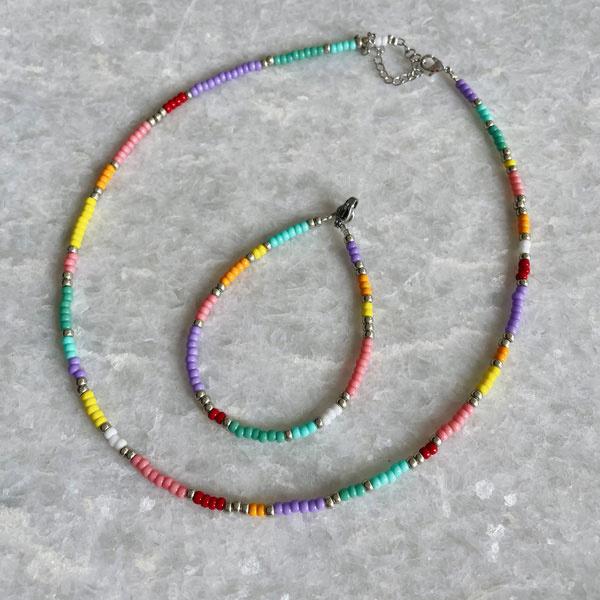 DIY Kralen pakket Zilver Happy colors ketting en armband