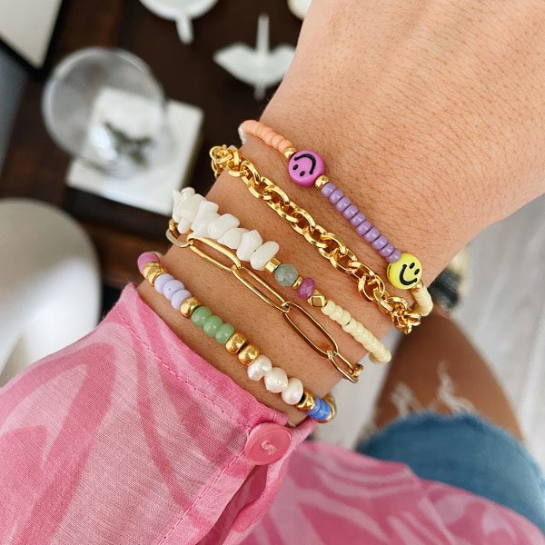 Armband Chips Wit Rocailles Pastel Geel