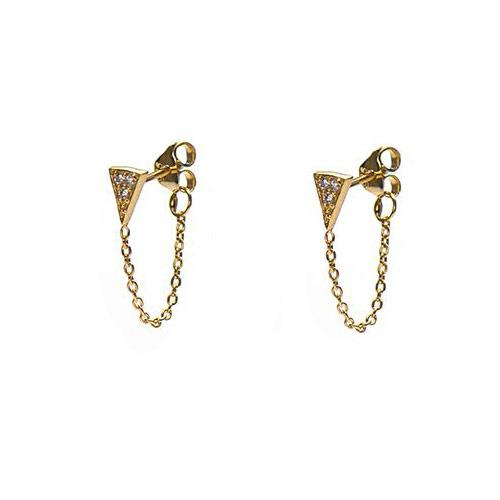 Oorbellen chain kristal triangle goud