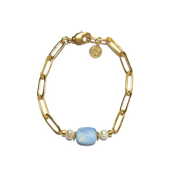 Schakel armband Steen Blauw Parel