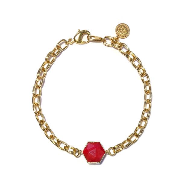 Armband schakel chunky steen Rood