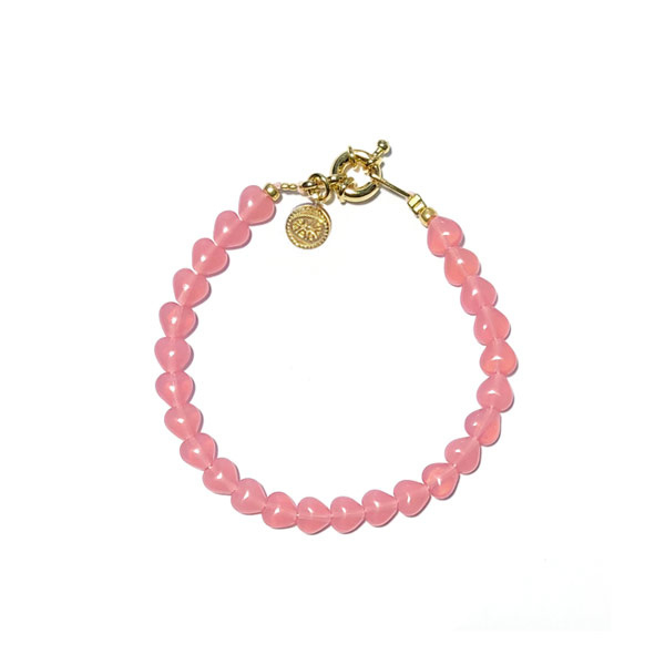 Armband kralen hartjes Roze