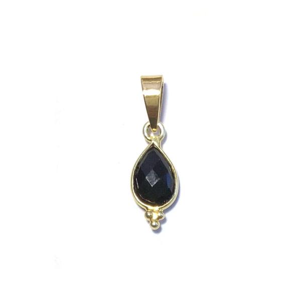 Bedeltje Facet steen Onyx zwart Verguld