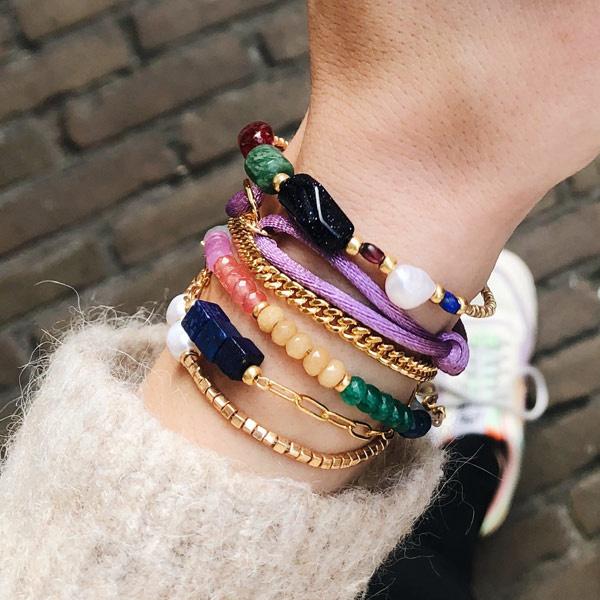Armband Lapis schakel goud